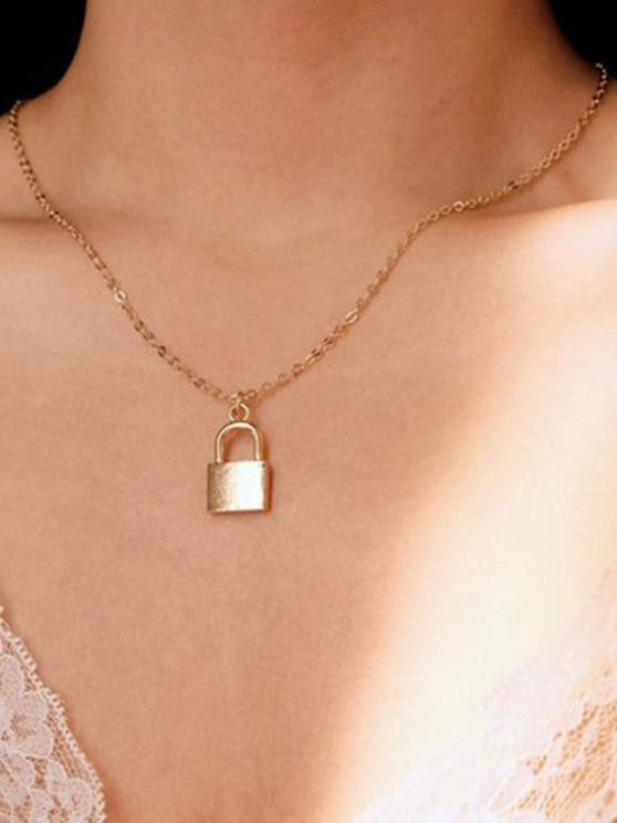 lady Brief Lock Pendant Chain Necklace - GOLDEN