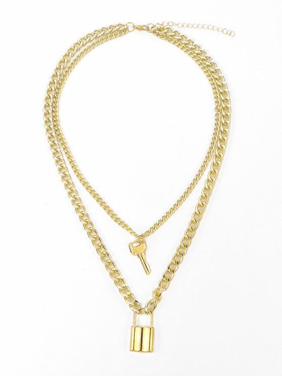 online Key Lock Pendant Layered Boyish Necklace - GOLDEN