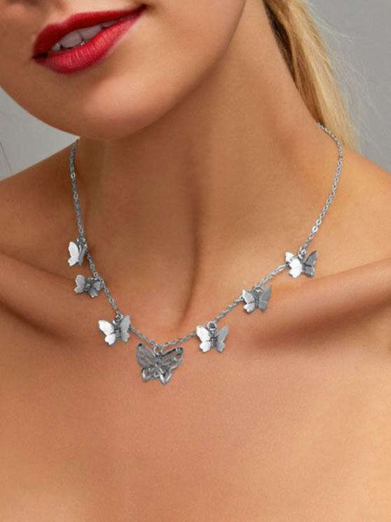 Hollow Butterfly Charm Necklace - فضة