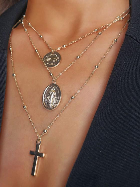 shops Engraved Cross Pendant Layered Necklace - GOLDEN