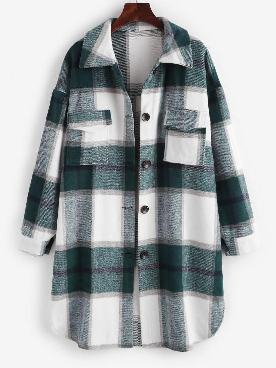 Plaid Front Pocket Wool Blend Coat - أبيض L