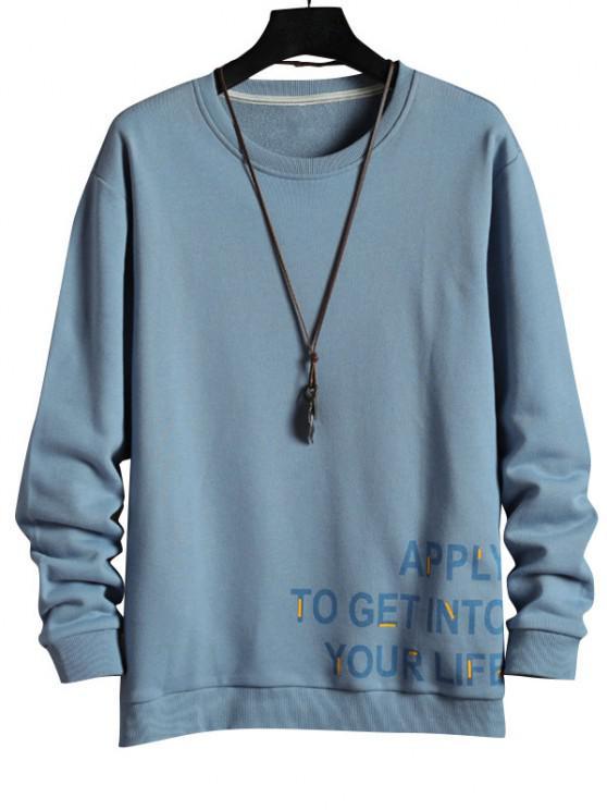 Letter Graphic Printed Rib-knit Trim Sweatshirt - أزرق فاتح 2XL