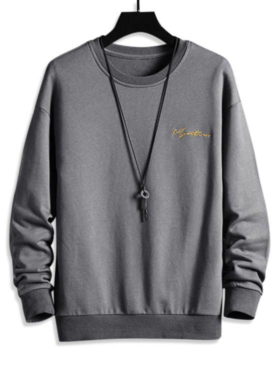 Sweatshirt mit Buchstabe Stickerei und Hängender Schulter - Grau 3XL