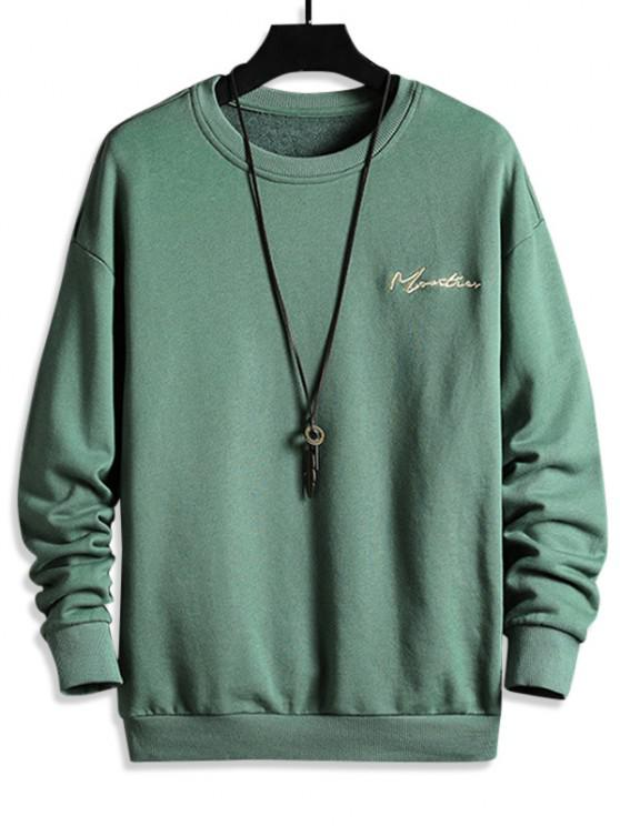 Letter Embroidered Drop Shoulder Sweatshirt - أخضر 4XL