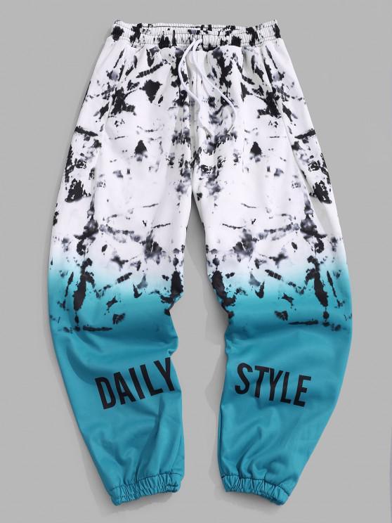 Tie Dye Ombre Print Beam Feet Pants - ماكاو الأزرق الأخضر 2XL