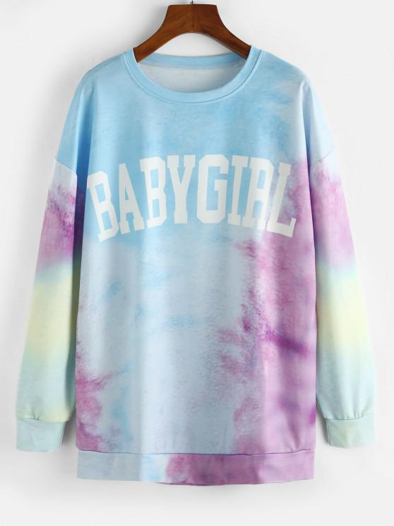 womens Tie Dye Baby Girl Drop Shoulder Oversized Sweatshirt - LIGHT SKY BLUE M