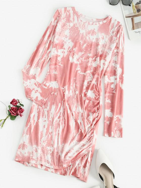 unique Tie Dye Ruched Long Sleeve Bodycon Dress - LIGHT PINK S