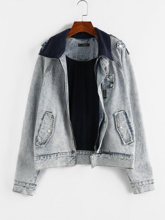 shop ZAFUL Raglan Sleeve Fleece Lining Denim Jacket - LIGHT BLUE XL