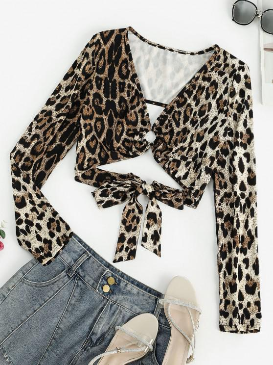 lady Leopard O Ring Tie Back Crop T-shirt - COFFEE M