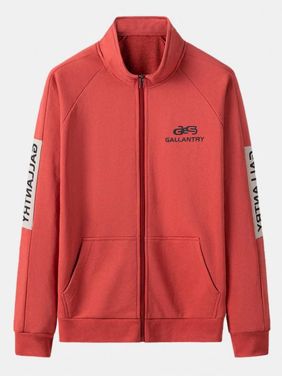 women's Gallantry Letter Print Colorblock Jacket - RED XS