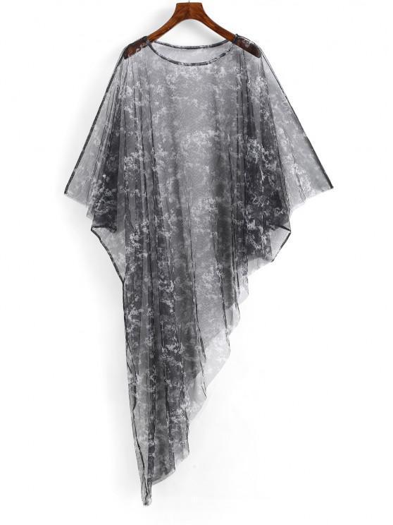 unique Poncho Tie Dye Sheer Mesh Beach Dress - BLACK ONE SIZE