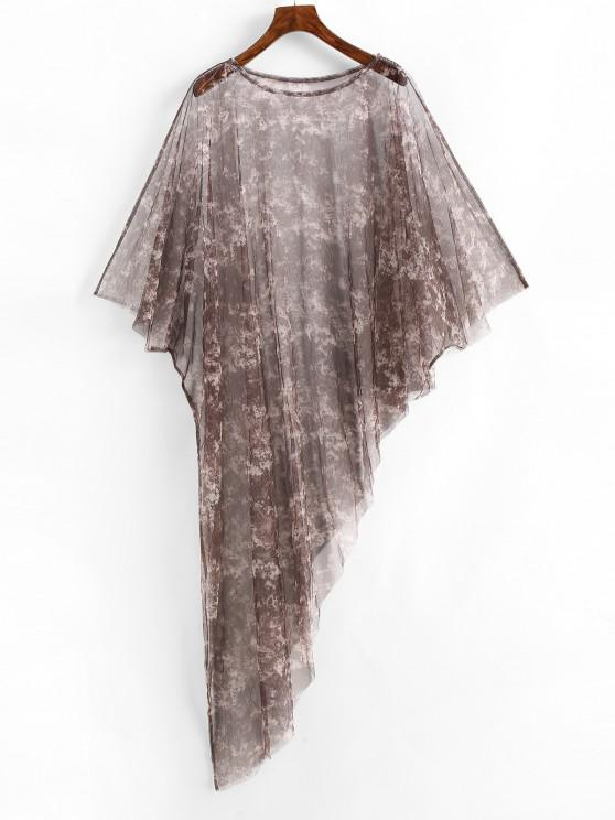 affordable Poncho Tie Dye Sheer Mesh Beach Dress - PUCE ONE SIZE