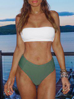 Bikini Bicolore A Fascia Con Taglio Alto - Verde Dell'esercito L