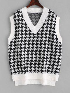 Houndstooth Stepped Hem Sweater Vest - White M