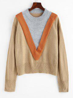 Colorblock Chevron Detail Sweater - Light Coffee S