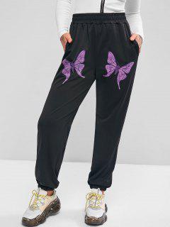 Taschen Schmetterling Jogger Jogginghose Mit Hoher Taille - Schwarz S