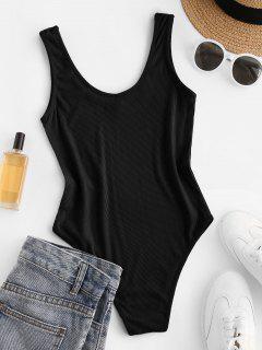Bodysuit Sem Mangas Com Nervuras - Preto M