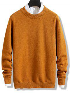 Crew Neck Solid Pullover Knit Sweater - Dark Orange Xs