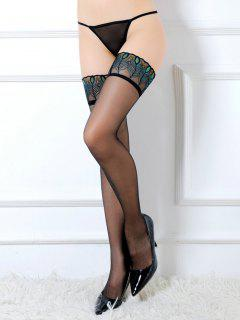Peacock Feather Pattern Lace Embroidery Sexy Stockings - Multi-a