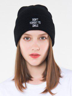 Letters Embroidered Knitted Hat - Black