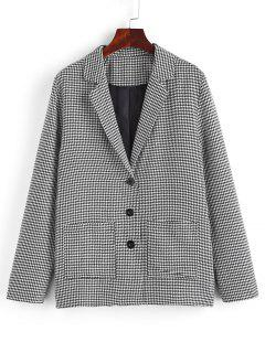 ZAFUL Houndstooth Lapel Dual Patch Pocket Blazer - Black M