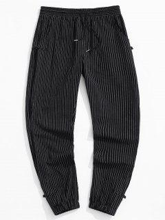 ZAFUL Striped Pattern Frog Button Pants - Black S