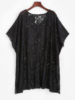 Lace Sheer Oversized Tunic Cover Up Dress - Black
