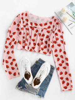 ZAFUL Long Sleeve 3D Strawberry Print Pintuck Tee - Light Pink L