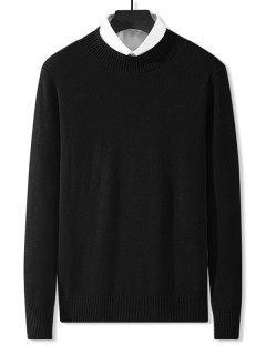Stehkragen Einfarbiger Knit Sweatshirt - Schwarz Xs