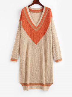 Vestido De Camisola De Colar De Bloco De Cores Com Listado - Café Light Xl