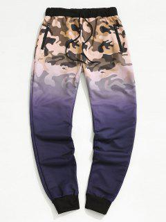 Camouflage Ombre Print Beam Feet Pants - Purple M