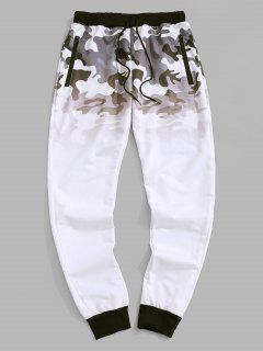 Camouflage Ombre Print Beam Feet Pants - White Xs
