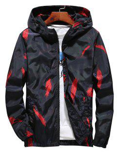 Hooded Paint Line Print Zip Up Jacket - Red Xl