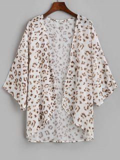 Leopard Chiffon Open Oversized Kimono Cover Up - White S