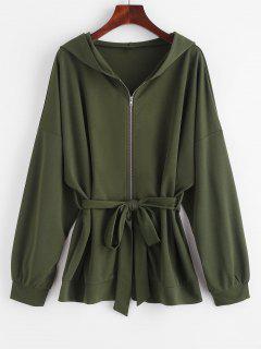 Hooded Drop Shoulder Belted Coat - Deep Green M