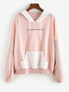 Colorblock Front Pocket Drawstring Cat Hoodie - Light Pink S