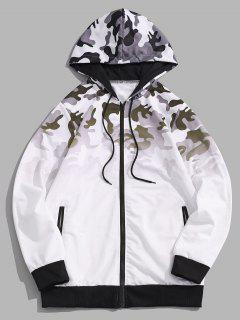 Ombre Camouflage Print Hooded Jacket - White S