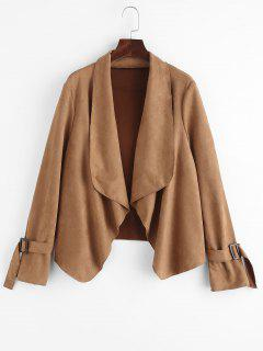 Faux Suede Open Front Buckle Cuff Coat - Coffee M
