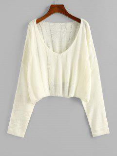 ZAFUL Plunging Drop Shoulder Oversized Crop Sweater - Light Yellow M