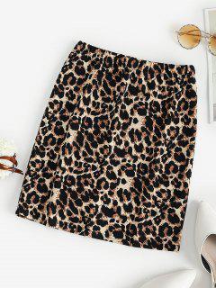 Leopard High Waisted Bodycon Skirt - Brown M