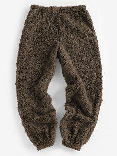 ZAFUL Faux Fur Elastic Cuffs Pull-on Pants - Deep Coffee M
