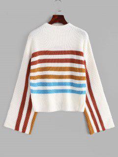 Mock Neck Striped Sweater - White M