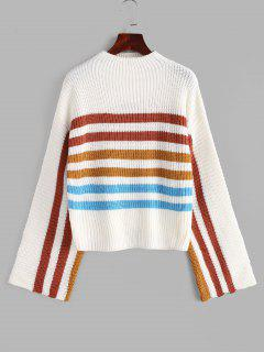 Mock Neck Striped Sweater - White S