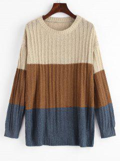 Colorblock Pointelle Knit Sweater - Light Coffee M