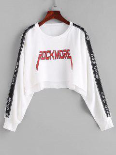 Letter Drop Shoulder High Low Crop Sweatshirt - White M