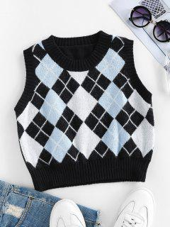 ZAFUL Argyle Rib Trim Crop Sweater Vest - Black L