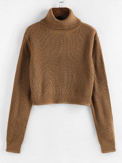 ZAFUL Turtleneck Scalloped Hem Crop Sweater - Coffee L