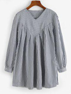 Contrast Stripes Long Sleeve Tunic Dress - Deep Blue L