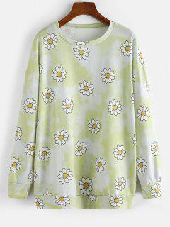 Tie Dye Flower Drop Shoulder Boyfriend Sweatshirt - Yellow Xl
