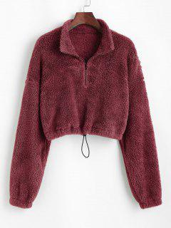 ZAFUL Half Zip Plush Cropped Sweatshirt - Red Wine S